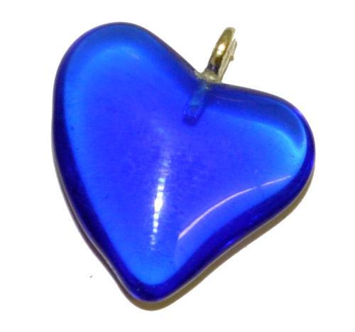 Best.Nr.:34157 Glasanhänger Herz mit Öse, blau transp., hergestellt in Gablonz / Tschechien