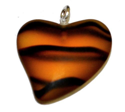 Best.Nr.:34159  Glasanhänger Herz mit Öse,  topas transp. mattiert (frostet),  hergestellt in Gablonz / Tschechien
