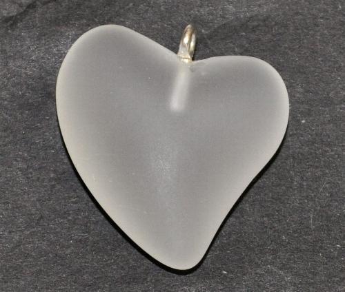 Best.Nr.:34160 Glasanhänger Herz mit Öse, kristall mattiert (frostet), hergestellt in Gablonz / Tschechien