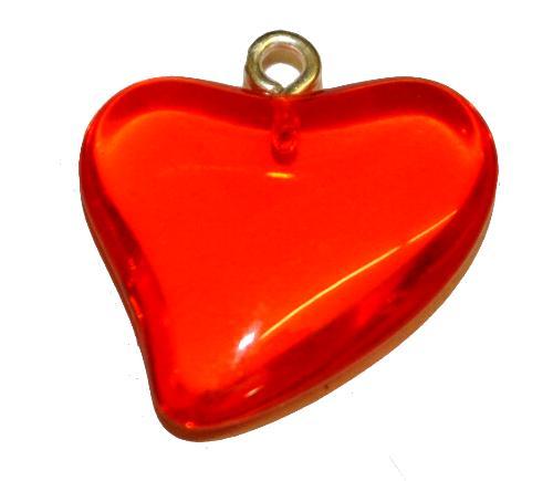Best.Nr.:34161 Glasanhänger Herz mit Öse,  orange transp.,  hergestellt in Gablonz / Tschechien