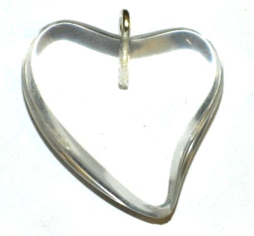Best.Nr.:34164  Glasanhänger Herz mit Öse,  kristall,  hergestellt in Gablonz / Tschechien