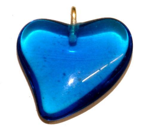Best.Nr.:34166 Glasanhänger Herz mit Öse,  montanablau transp.,  hergestellt in Gablonz / Tschechien