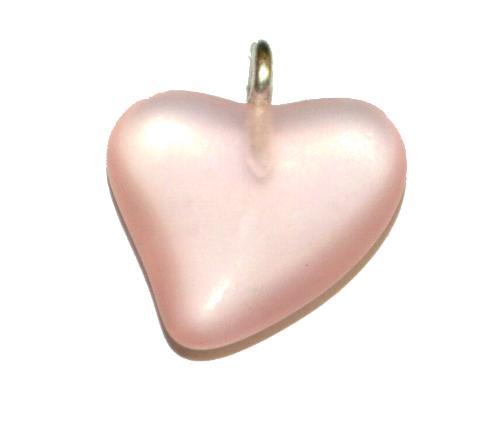 Best.Nr.:34158 Glasanhänger Herz mit Öse,  rosa transp. mattiert (frostet),  hergestellt in Gablonz / Tschechien