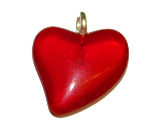 Best.Nr.:34169 Glasanhänger Herz mit Öse,  rot transp light mattiert (frostet),  hergestellt in Gablonz / Tschechien