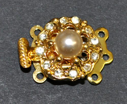 Best.Nr.:39041 Verschluss goldfarben mit 12 Strasssteinen und einer Perle,  1950/60 Jahren in Gablonz/Böhmen hergestellt
