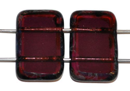 Best.Nr.:671400 Glasperlen / Table Cut Beads geschliffen  mit 2 Löchern  violett transp. mit picasso finish,  hergestellt in Gablonz / Tschechien