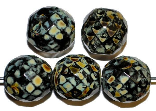 Best.Nr.:41005 Glasperlen mit Facettenschliff  schwarz mit picasso finish,,  hergestellt in Gablonz / Tschechien