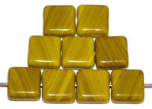 Best.Nr.:41023 Glasperlen Quadrate, oliv opak, hergestellt in Gablonz / Tschechien
