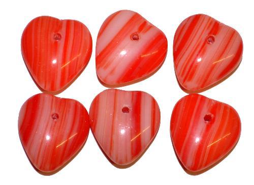 Best.Nr.:41040 Glasperlen Großpackung  Herzen rot,  hergestellt in Gablonz / Tschechien