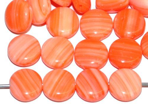 Best.Nr.:41061 Glasperlen Linsen orange opak marmoriert, hergestellt in Gablonz / Tschechien