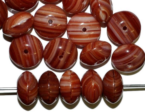 Best.Nr.:41069 Glasperlen Linsen  braun,  hergestellt in Gablonz / Tschechien