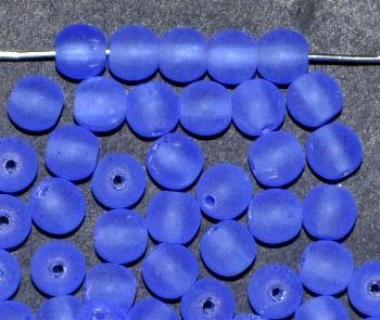 Best.Nr.:41070 Glasperlen rund blau mattiert (frostet)