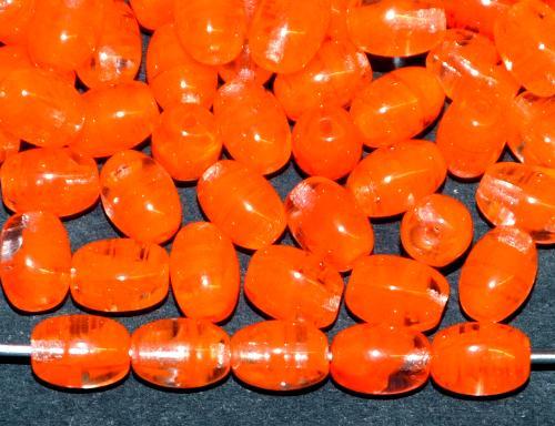 Best.Nr.:41080 Glasperlen Oliven orange kristall marmoriert, hergestellt in Gablonz / Tschechien