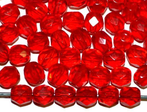 Best.Nr.:41082  facettierte Glasperlen  rot transp.,  hergestellt in Gablonz / Tschechien