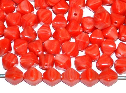 Best.Nr.:41085 Glasperlen Doppelpyramide rot opak marmoriert, hergestellt in Gablonz / Tschechien