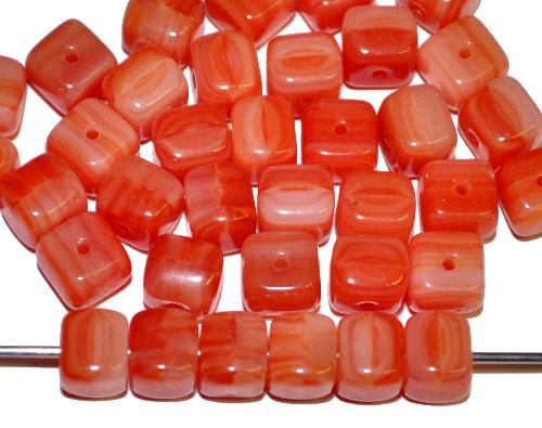 Best.Nr.:41106 Glasperlen Würfel  rotbraun opak,  hergestellt in Gablonz / Tschechien