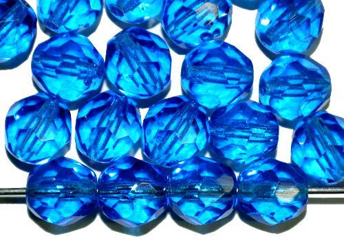 Best.Nr.:41110 facettierte Glasperlen  blau transp.,  hergestellt in Gablonz / Tschechien