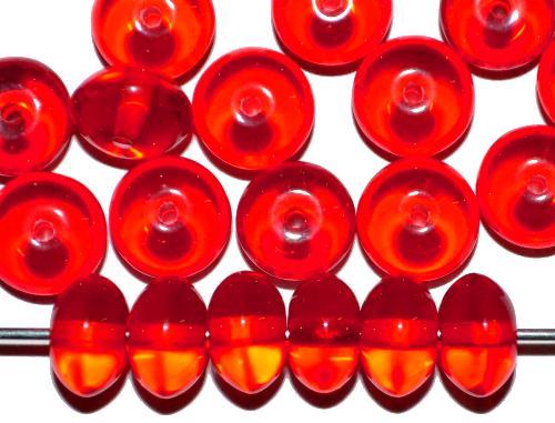 Best.Nr.:41111 Glasperlen Großpackung  Linsen rot transp.,  hergestellt in Gablonz / Tschechien