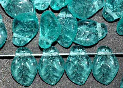 Best.Nr.:41115  Glasperlen Großpackung  Blätter smaragd hell transp., hergestellt in Gablonz / Tschechien