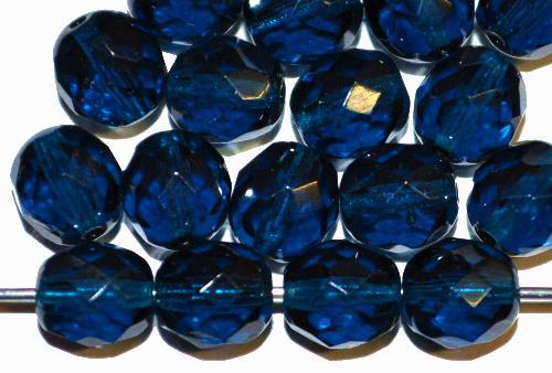 Best.Nr.:41117 facettierte Glasperlen  montanablau transp.,  hergestellt in Gablonz / Tschechien
