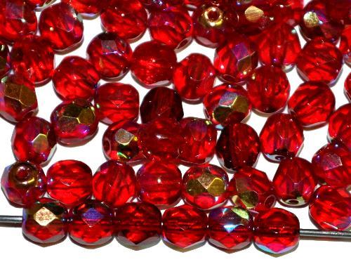 Best.Nr.:41120  facettierte Glasperlen  rot transp. mit AB,  hergestellt in Gablonz / Tschechien