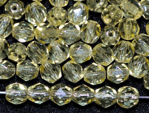 Best.Nr.:41122 facettierte Glasperlen  gelb transp.,  hergestellt in Gablonz / Tschechien