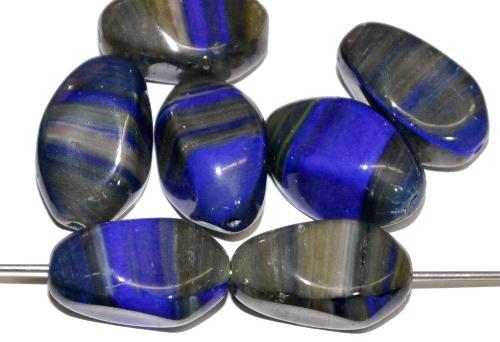 Best.Nr.:41122 Glasperlen Nuggets graublau opak marmoriert, hergestellt in Gablonz / Tschechien