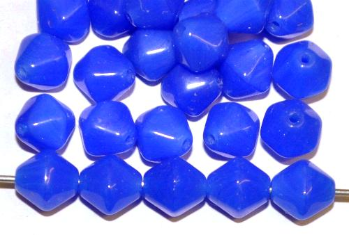 Best.Nr.:41123 Glasperlen Doppelpyramide blau opak, hergestellt in Gablonz / Tschechien