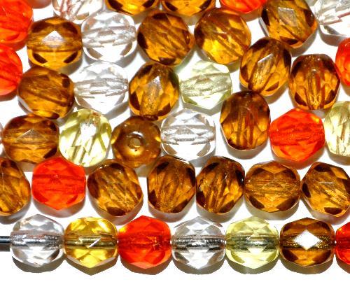 Best.Nr.:41124 facettierte Glasperlen  Farbmix transp.,  hergestellt in Gablonz / Tschechien