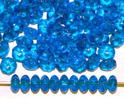 Best.Nr.:41125 Glasperlen Linsen montanablau transp., hergestellt in Gablonz / Tschechien