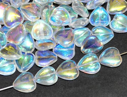 Best.Nr.:41126 Glasperlen Herzen kristall mit AB, hergestellt in Gablonz / Tschechien