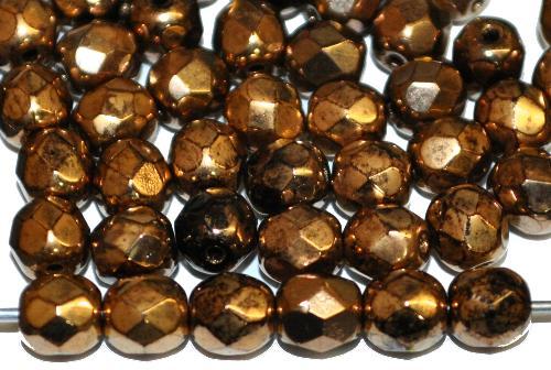Best.Nr.:42003 facettierte Glasperlen B Sortierung metallic finish messing,  hergestellt in Gablonz / Tschechien