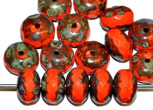 Best.Nr.:42018 Glasperlen Linse  rot opak mit facettiertem Rand und picasso finish,  B-Sortierung,  hergestellt in Gablonz / Tschechien