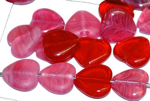 Best.Nr.:42025 Glasperlen / Table Cut Beads  geschliffene Herzen, B-Sortierung hergestellt in Gablonz / Tschechien