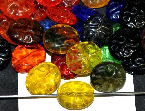 Best.Nr.:42090 Glasperlen geprägt Farbmix, hergestellt in Gablonz / Tschechien