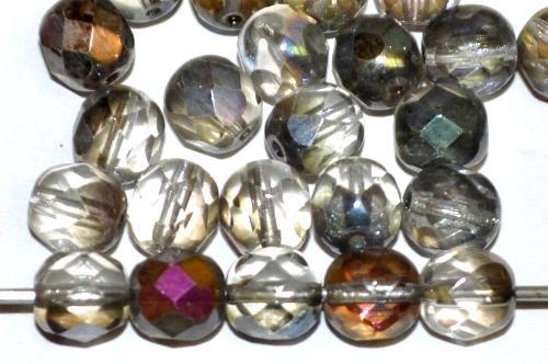 Best.Nr.:42100 facettierte Glasperlen kristall mit metallic Veredelung,  hergestellt in Gablonz / Tschechien