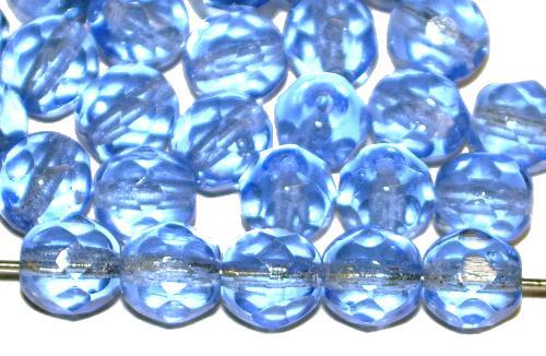 Best.Nr.:42124 facettierte Glasperlen hellblau transp., hergestellt in Gablonz / Tschechien