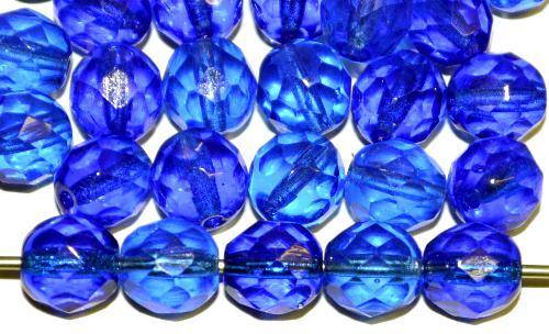 Best.Nr.:42154 facettierte Glasperlen blau transp., hergestellt in Gablonz / Tschechien