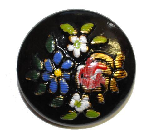 Best.Nr.:43060  Glasknopf, handgefertigt, handbemalt  In Gablonz / Böhmen hergestellt.  (nur einmal auf Lager)