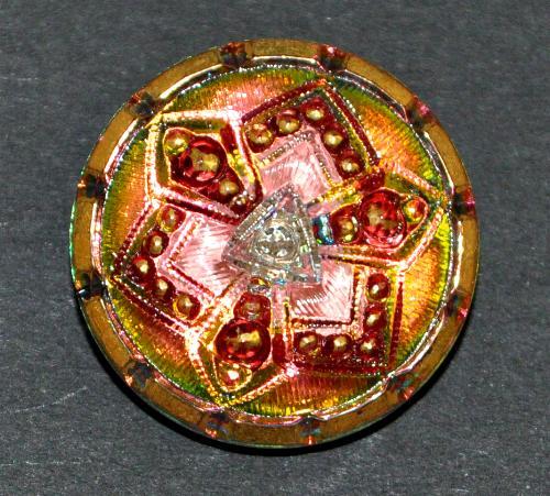 Best.Nr.:43062 Glasknopf, handbemalt  In Gablonz / Tschechien hergestellt  (nur einmal auf Lager)