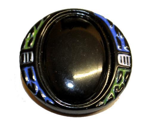 Best.Nr.:43066 Glasknopf, handgefertigt, handbemalt In Gablonz / Böhmen hergestellt.  (nur einmal auf Lager)