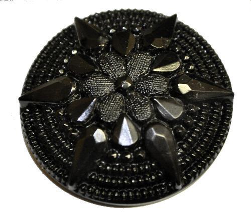 Best.Nr.:43069 Glasknopf schwarz, handgefertigt,  In Gablonz / Böhmen hergestellt.  (nur einmal auf Lager)
