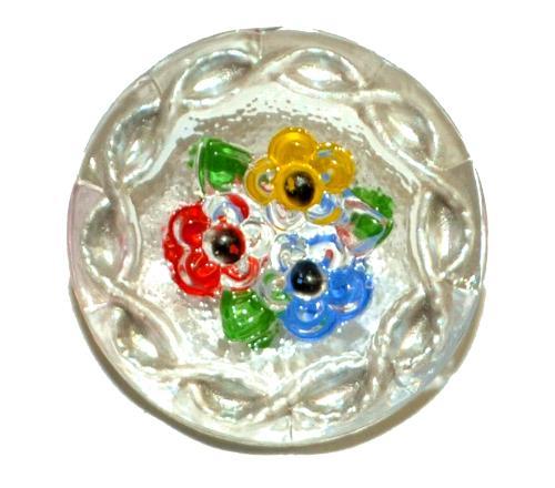 Best.Nr.:43073 Glasknopf, handgefertigt, handbemalt In Gablonz / Böhmen hergestellt  (nur einmal auf Lager)
