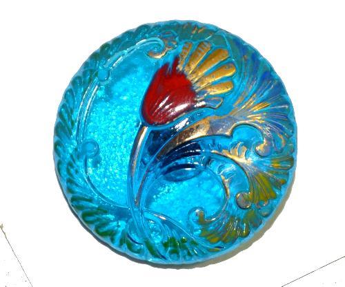 Best.Nr.:43074 Glasknopf, handgefertigt, handbemalt In Gablonz / Böhmen hergestellt.  (nur wenige auf Lager)