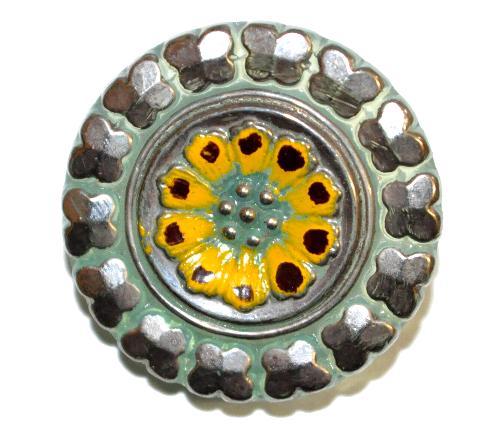 Best.Nr.:43082 Glasknopf, handgefertigt, handbemalt  In Gablonz / Böhmen hergestellt.  (nur einmal auf Lager)