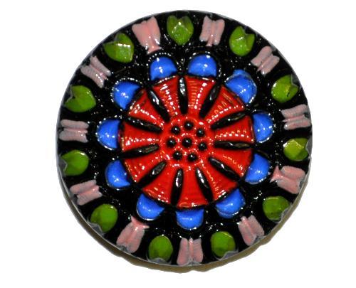 Best.Nr.:43100  Glasknopf, handgefertigt, handbemalt In Gablonz / Böhmen hergestellt.  (nur wenige auf Lager)