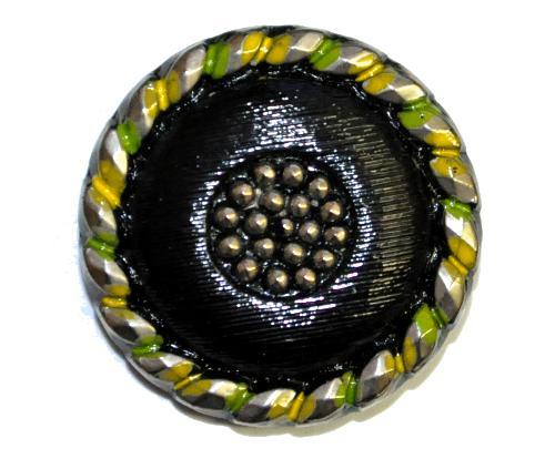 Best.Nr.:43123 Glasknopf, handgefertigt, handbemalt  In Gablonz / Böhmen hergestellt.  (nur wenige auf Lager)