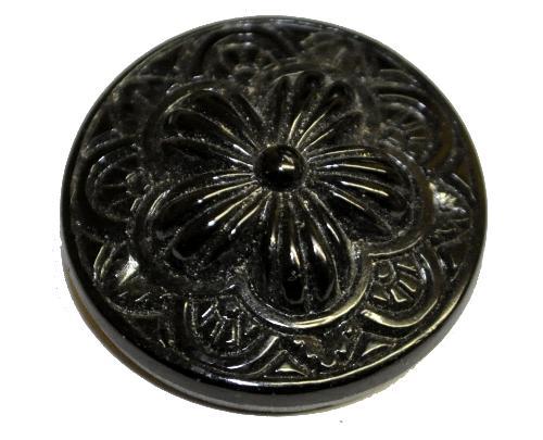 Best.Nr.:43064  Glasknopf schwarz, handgefertigt,  In Gablonz / Böhmen hergestellt.  (nur wenige auf Lager)