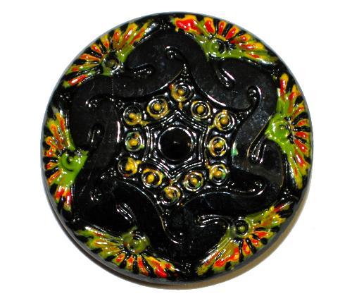 Best.Nr.:43131 Glasknopf, handgefertigt, handbemalt In Gablonz / Böhmen hergestellt.  (nur wenige auf Lager)