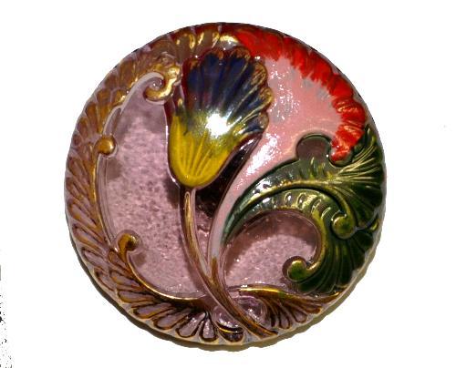 Best.Nr.:43132 Glasknopf, handgefertigt, handbemalt In Gablonz / Böhmen hergestellt.  (nur wenige auf Lager)